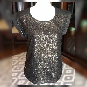 Gold & Black Sequined Cap Sleeve Express Top